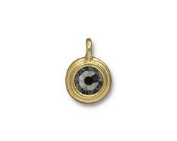 TierraCast Gold (plated) Stepped Bezel Charm w/ Black Diamond Crystal 12x17mm