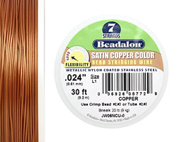 "Beadalon Satin Copper Nylon Coated Stainless Steel .024"" 7 Strand Wire 30ft."