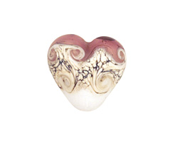 Grace Lampwork Amethyst/White Heart 19-20mm