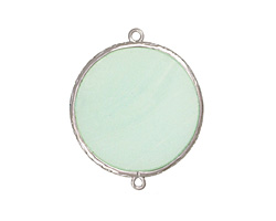 Seafoam Opalite Coin Thin Slice w/ Silver Finish Bezel Frame Focal Link 30mm