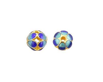 Cloisonné Blue & Aqua w/ Gold Finish Openwork Petal Round Bead 9mm