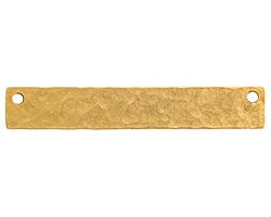 Nunn Design Antique Gold (plated) Hammered Flat Long Narrow Horizontal Tag 45x7mm