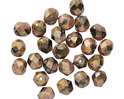 Czech Fire Polished Tarnished Rose w/ Gold Round 6mm