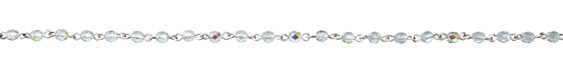 Czech Fire Polished 4mm Light Aqua AB Faceted Round Silver (plated) Bead Chain