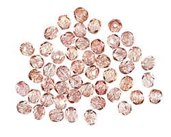 Czech Fire Polished Glass Luster Transparent Topaz/Pink Round 4mm