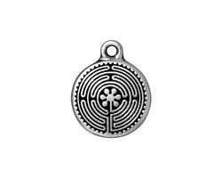 TierraCast Antique Silver (plated) Labyrinth Charm 16x20mm