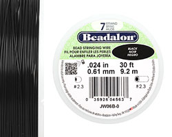 "Beadalon Black .024"" 7 Strand Wire 30ft."