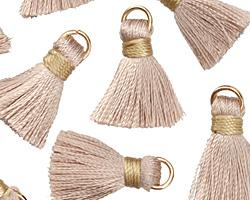 Wheat w/ Harvest Gold Binding & Jump Ring Thread Tassel 17mm