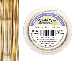 Artistic Wire Silver Plated Gold 24 gauge, 15 yards