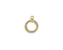 Vintaj Antique 10K Gold (plated) Ribbed Toggle Ring 14x17mm