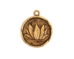 Nunn Design Antique Gold (plated) Round Lotus Charm 20x25mm