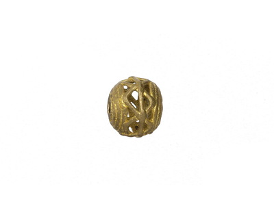 African Brass Small Corrugated w/ Zig Zag Round 8-10x9-11mm