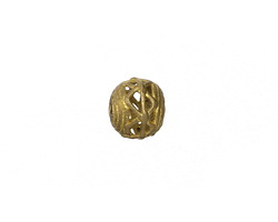 African Brass Small Corrugated w/ Zig Zag Round 8-10x9-11mm