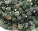 Blue Green Quartz Faceted Coin 8mm