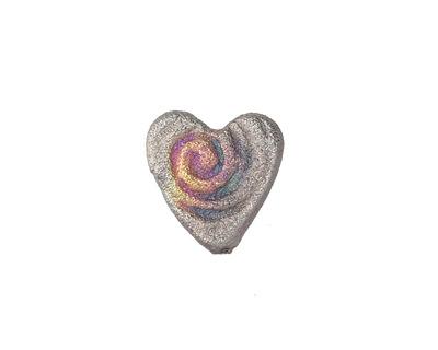 Xaz Raku Galactic Spiral Mini Heart 15mm