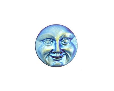 Czech Glass Matte Iris Blue Moon Face Button 17mm