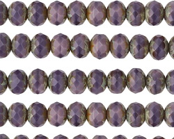Czech Glass Wild Lilac Picasso Rondelle 5x7mm