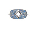 Turquoise Pave CZ Rhodium (plated) Starburst Rectangle Focal Link 28x13mm