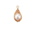 Pearly White Shell Pearl Gold Finish Wire-Wrapped Teardrop Pendant 12-13x25-28mm