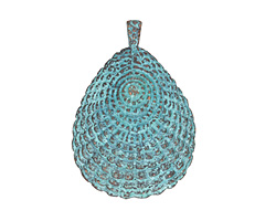 Greek Copper (plated) Patina Fancy Shell Pendant 42x61mm