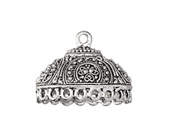 Antique Silver (plated) Stained Glass Ovoid Tassel Cap 28x21mm