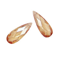 Champagne Faceted Flat Teardrop 7x18mm