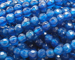 Sky Blue Agate Faceted Round 4mm