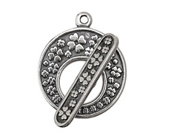 Antique Silver (plated) Clover Toggle Clasp 24x28mm, 28mm bar