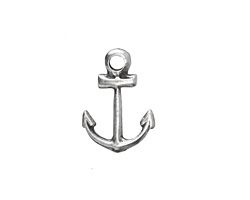 Greek Pewter Small Anchor Charm 13x19mm