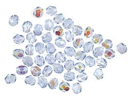 Czech Fire Polished Glass Light Sapphire AB Round 4mm