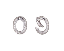Rhodium (plated) Roped Ring Lobster Clasp 13x10mm