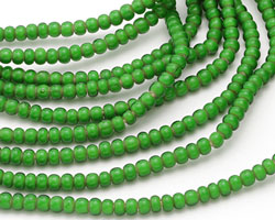 African Trade Beads Kelly Green White Heart Glass 5-6mm