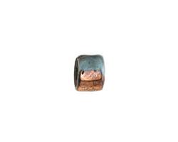 Greek Ceramic Raku Metallic Frosted Copper Short Tube Spacer 7x8mm