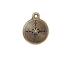 TierraCast Antique Gold (plated) Labyrinth Charm 16x20mm