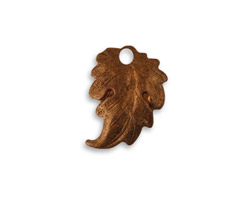 Vintaj Artisan Copper Prairie Leaf Charm 14x18mm
