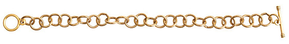 Nunn Design Antique Gold (plated) Loop Chain Charm Bracelet 8 1/2""