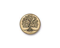 TierraCast Antique Gold (plated) Tree of Life Bead 15mm