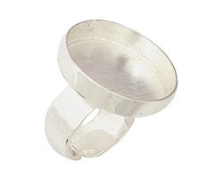 Silver (plated) Adjustable Ring Circle Bezel 23mm