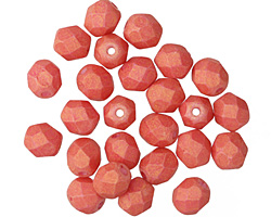 Czech Fire Polished Glass Pacifica Strawberry Round 6mm