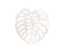 Mother of Pearl Carved Monstera Leaf Focal 36x38mm