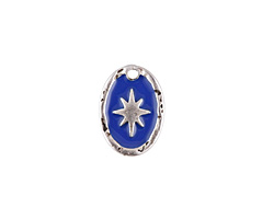 Zola Elements Cobalt Enamel Antique Silver (plated) Starburst Oval Focal 11x15mm