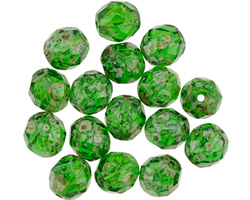 Czech Fire Polished Glass Green Apple Picasso Round 8mm