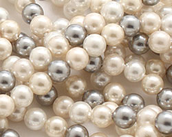 Vintage Lace Shell Pearl Mix Round 4mm