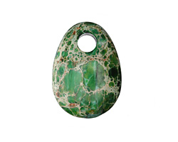 Dark Emerald Impression Jasper Flat Oval Pendant 25x35mm