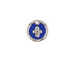 Zola Elements Cobalt Enamel Antique Silver (plated) Cross Coin Focal 13mm