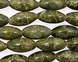 African Green Jasper Rice 16x8mm