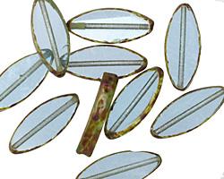 Czech Glass Beach Glass Picasso Horse Eye 17x6mm