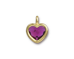 TierraCast Gold (plated) Heart Charm w/ Fuchsia Crystal 13x16mm