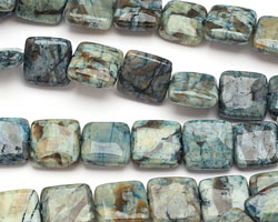 Mystic Blue Feldspath Puff Square 12mm