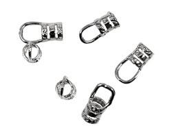 Silver (plated) Hook & Eye Crimp Clasp 16x5mm (hook), 13x5mm (eye)